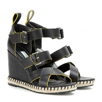 Balenciaga Leather Wedge Sandals Noir
