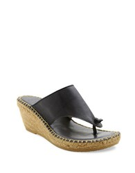 Andre Assous Alyssa Espadrille Thong Leather Sandals Navy Blue
