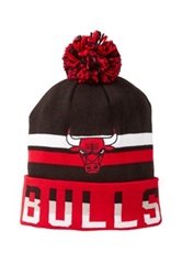 Mitchell And Ness Chicago Bulls Striped Pom Beanie Red