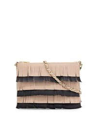 Channing Beth Layered Fringe Flat Crossbody Bag Black White