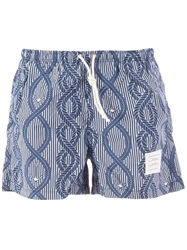 Thom Browne Rope And Anchor Printed Swim Short Blue
