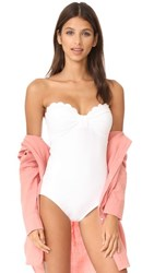 Kate Spade New York Scalloped Bandeau One Piece White