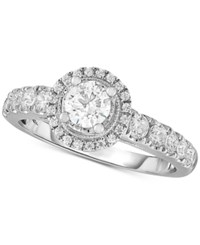 Macy's Diamond Round Halo Engagement Ring 1 Ct. T.W. In 14K White Gold