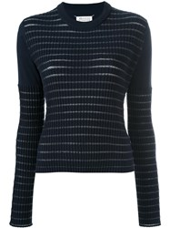 Maison Martin Margiela Sheer Stripe Knitted Jumper Blue