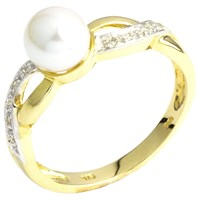 A B Davis 9Ct Gold Double Twist Diamond And Pearl Ring Gold White