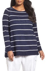 Eileen Fisher Plus Size Women's Organic Linen And Cotton Stripe Tee