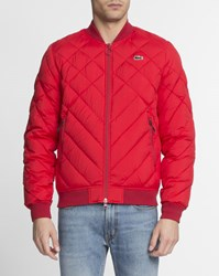 Lacoste Red Quilted Zip Up Jacket