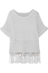Current Elliott The Peggy Fringed Open Knit Cotton Sweater Light Gray