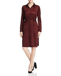 Nydj Allison Faux Suede Shirt Dress Mahogany Wood