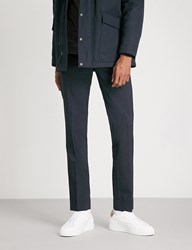 Sandro Cropped High Rise Wool Blend Trousers Navy Blue
