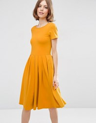Asos Midi Pleated Skater Dress With Scoop Back Mustard Yellow