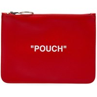 Off White Quote Flat Pouch Red