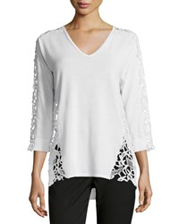Magaschoni 3 4 Sleeve Lace Inset Sweater Blanc Women's