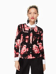Kate Spade Rosa Lace Trim Cardigan Black Multi