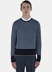 Thom Browne Oxford Ottoman Stitched Stripe Sweater Navy