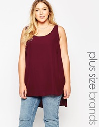 New Look Inspire Shell Top With Side Splits Wine