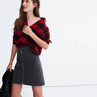 Madewell Studio Zip Skirt Hthr Blackbird