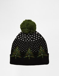 Asos Bobble Beanie In Navy With Christmas Tree Design