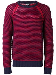 Just Cavalli Chunky Knit Raglan Sweater Red