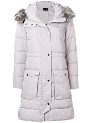 Emporio Armani Hooded Parka Coat Grey