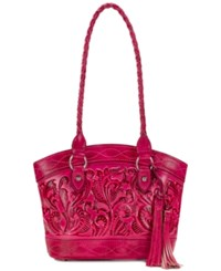 Patricia Nash Burnished Tooled Zorita Satchel Pink