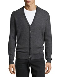 Vince V Neck Striped Button Down Sweater Charcoal