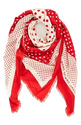 Women's Marc By Marc Jacobs Polka Dot Square Wool Scarf Red New Red Multi