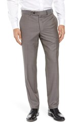 Ted Baker London Jefferson Flat Front Wool Trousers Taupe