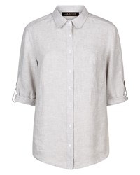 Jaeger Linen Roll Sleeve Shirt Grey