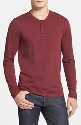 Men's French Connection 'Shooter' Slim Fit Long Sleeve Henley Port Red