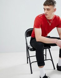 Aquascutum London Southport Check Shoulder T Shirt In Red