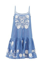 Juliet Dunn Floral Embroidered Cotton Chambray Mini Dress Blue White