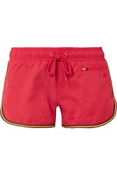 Perfect Moment Striped Washed Twill Shorts Red