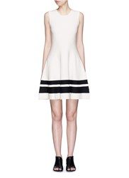 Mo And Co. Contrast Stripe Knit Skater Dress White