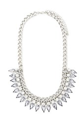 Forever 21 Threaded Rhinestone Statement Necklace Silver Light Blue