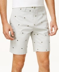 Tommy Hilfiger Men's Embroidered Paisley Cotton Shorts Gray Violet