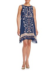 Max Studio Floral Print Sleeveless Sheath Dress Navy