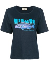 Antonia Zander Fish Print T Shirt Blue