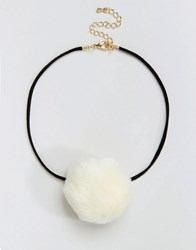 Asos Limited Edition Faux Pom Choker Necklace Cream
