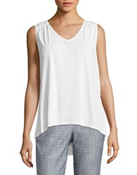 Lord And Taylor Crochet V Neck Top White