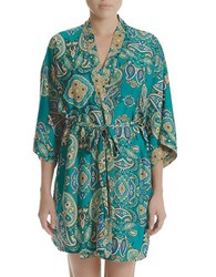 In Bloom Patterned Satin Robe Green