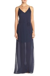 Women's Rory Beca 'Harlow' Belted Silk Georgette Deep V Back Gown Deep Blue