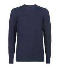 Boss Crew Neck Tonal Zig Zag Sweater Male