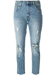 Levi's Ripped Cropped Jeans Blue