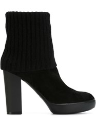 Hogan Ribbed Detail Ankle Boots Black