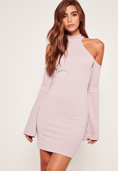 Missguided Bell Sleeve Cold Shoulder Bodycon Dress Purple Mauve