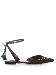 Dolce And Gabbana Anchor Applique Embellished Raffia Flats Navy Multi