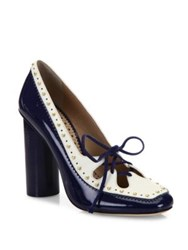 Tory Burch Cambridge Studded Leather Pumps Navy Sea