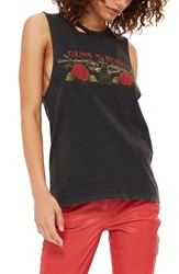 Topshop Women's By And Finally Guns And Roses Slash Tank Black Multi