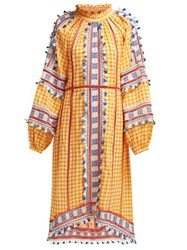 Dodo Bar Or Alexa Full Sleeve Embroidered Cotton Dress Yellow Multi